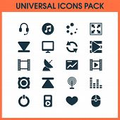 Multimedia Icons Set With Presentation, Computer Mouse, Video And Other Multimedia Elements. Isolate poster