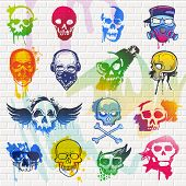 Skull Vector Mexican Dead Head And Crossbones And Human Tattoo Illustration Thick-skulled Set Of Hor poster