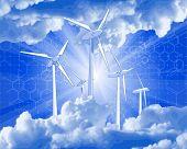 Concepto de ecología: generadores eólicos, los rayos de luz & azul cielo 52833043