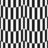 Black And White Stripes Seamless Pattern. Simple Vector Texture With Vertical Striped Lines, Wavy Sh poster