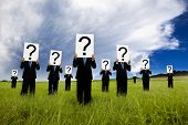 image of question-mark  - group of businessman in black suit and holding question mark symbol - JPG