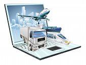 Logistics Laptop Computer Concept