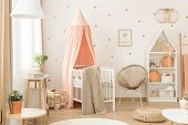 White And Pink Scandinavian Nursery poster