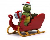 3D render of a tortoise santa character