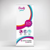 Banner Roll Up Design, For Beauty Parlour With And Hairdresser poster