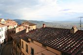 Italy. Toscana. Panorama Of Cortona. Sunset