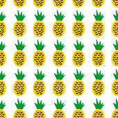 Cute Cartoon Summer Design With Hand Drawn Pineapples. Sweet Vector Colorful Summer Design. Seamless poster