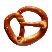 German Soft Pretzel. Single German bread pretzel on a white background. poster