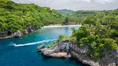 Aerial view of the Crsytal bay coastline and beach, Nusa Penida island, Indonesia poster