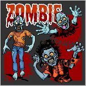Zombie Comic Set - Cartoon Zombie. Set Of Color Drawings Of Zombies. poster