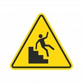 Warning Falling Off The Stairs Sign. Yellow Triangle With Falling Man On Stairs. Workplace Safety An poster