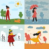 A Girl In All Four Seasons And Weather. Windy For Autumn, Snowy Winter, Rainy For Spring And Sunny I poster