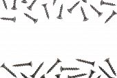 Black Screws Isolated On White Background With Copy Space For Your Text. Top View poster