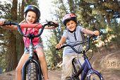 Постер, плакат: Маленьких детей на велосипедах в стране