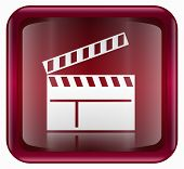 Movie Clapper Board Icon, Red, Isolated On White Background