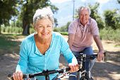 stock photo of pedal  - Senior couple on country bike ride - JPG