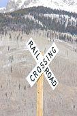 railroad crossing, Silverton, Colorado, USA