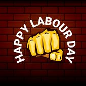 Happy Labour Day Vector Label With Strong Orange Fist On Red Brick Wall Background. Vector Happy Lab poster
