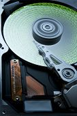 Hard Disk With Green Data On Platter -aah-