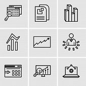 Set Of 9 Simple Editable Icons Such As Laptop Analysis, Analytics Settings, Data Export With An Arro poster