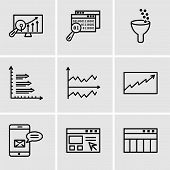 Set Of 9 Simple Editable Icons Such As Table For Data, Data Import Interface, Data Analytics Bars, D poster
