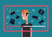 Flat Illustration Of Successful Video Blogger. Boy With Video Frame And Video Theme Icons - Camera,  poster