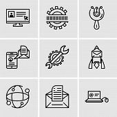 Set Of 9 Simple Editable Icons Such As Mail In Laptop, Email, Earth Globe, Email, Settings, Mail And poster