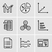 Set Of 9 Simple Editable Icons Such As Data Import Interface, Chart, User Warning, Bars, Pie Graphic poster