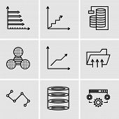 Set Of 9 Simple Editable Icons Such As Data Settings, Data Analytics, Nodes Connections Interface, C poster