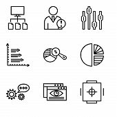 Set Of 9 Simple Editable Icons Such As Safe Box, Data Viewer, 3d Data Analytics, Simple Chart, Pie C poster