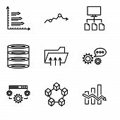 Set Of 9 Simple Editable Icons Such As Data Analytics Descendant, Data Interconnected, Data Settings poster