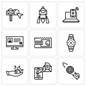 Set Of 9 Simple Editable Icons Such As Email Planet, Mail And Spartphone, Development, Smartwatch, S poster