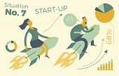 Business Infographics With Illustrations Of Business Situations. A Man And A Woman Flying A Rocket U poster