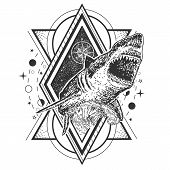 Vector Geometric Shark Tattoo Or T-shirt Print Design. Shark Combined With Compass Rose, Ocean Waves poster