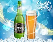 Vector Realistic Dark Craft Beer Alcoholic Drink Brand Glass Bottle And Glass Of Beer On Blue Sparkl poster