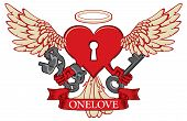 Vector Banner With The Inscription One Love. Template For Clothes, Textiles, T-shirt Design. Illustr poster