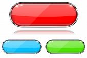 Glass Buttons. Red, Green And Blue Oval 3d Buttons With Metal Frame. With Reflection On White Backgr poster