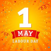 1 May, Labour Day Banner. Lettering 1st May With On Yellow Beams, Labour Day Vector Background. Inte poster