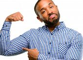 African american man with beard pointing biceps expressing strength and gym concept, healthy life it poster