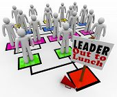A leader is missing on an organizational chart, with megaphone on the floor beside the sign reading Leader Out to Lunch and the team members looking around without direction