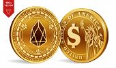 Eos. Dollar Coin. 3d Isometric Physical Coins. Digital Currency. Cryptocurrency. Golden Coins With E poster