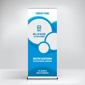 Roll-up Banner Template, Exhibition Stand Design, Layout For Photo And Text Placement, Banner For Co poster