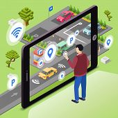Smart Parking Vector Illustration. Man User With Smartphone Touch Screen Control Car Driving To Park poster