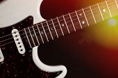Classic Modern Electric Guitar Close-up Of Fingerboard Frets And Body With Pick-up. Live Country  Ro poster
