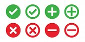 Check Mark Cross Red Green Isolated Vector Icons. Flat Illustration With Red Check Cross On White Ba poster