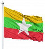 Waving flag of Myanmar
