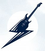 Electric Guitar In A Shape Of Lightning, Hot Rock Music, Hard Rock Or Rock And Roll Concert Or Festi poster