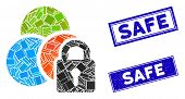 Mosaic Lock Colors Icon And Rectangle Safe Seals. Flat Vector Lock Colors Mosaic Icon Of Randomized  poster