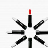 Set Of White With Red Lipstick Isolated Equalled A Circle On White Color Background. Colorful Tones, poster