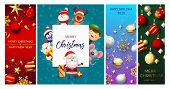 Christmas Postcard Set With Cute Characters, Baubles, Balls, Snowflakes, Streamer, Confetti. Vector  poster